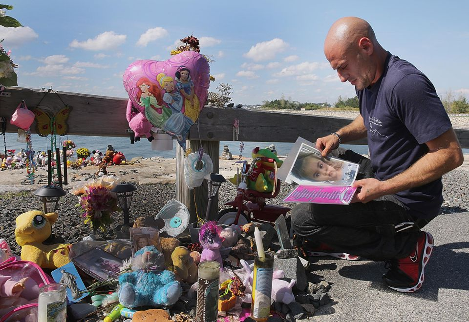 Joseph Amoroso, the biological father of Bella Bond, visited his daughter's memorial, erected at Deer Island in Winthrop on Saturday.