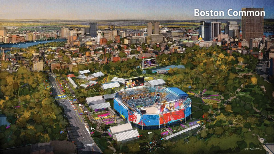 A conceptual rendering of a proposed beach volleyball venue on Boston Common for the 2024 Olympics.