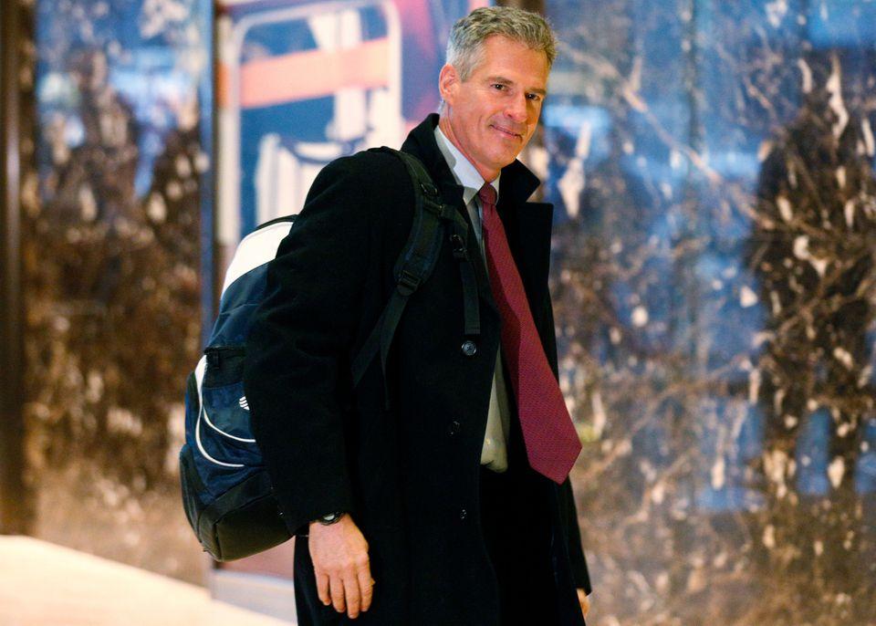 Former senator Scott Brown arrived at Trump Tower Monday in New York.