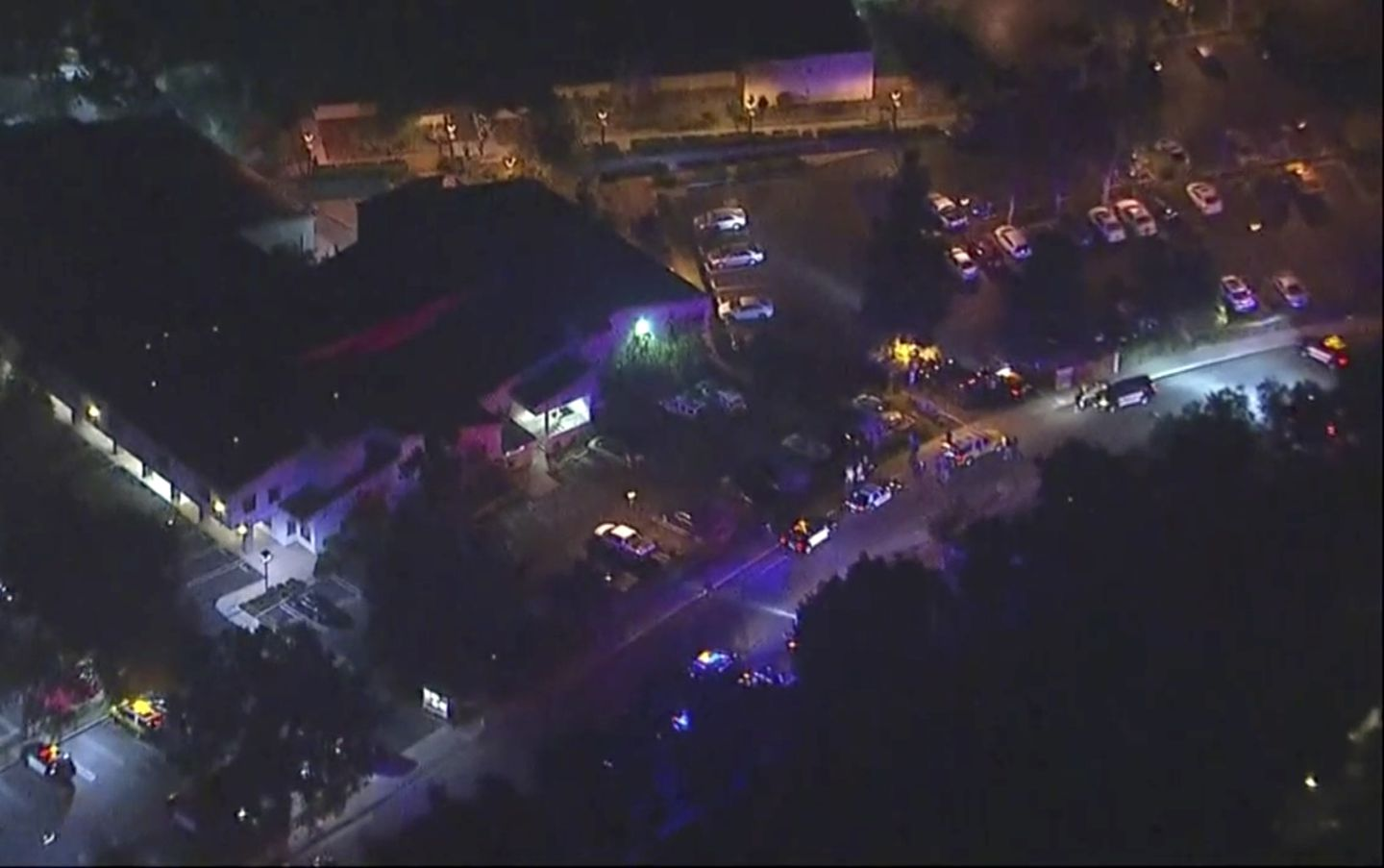 An image made from aerial video above the scene.
