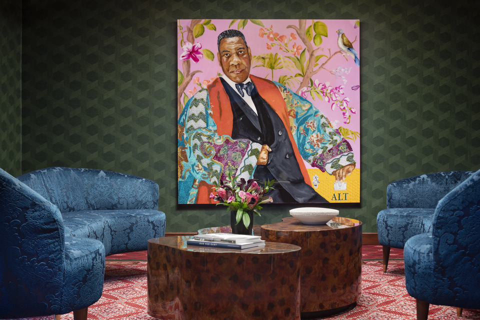 A portrait of fashion editor Andre Leon Talley in the lobby of the Graduate hotel in Providence, Rhode Island