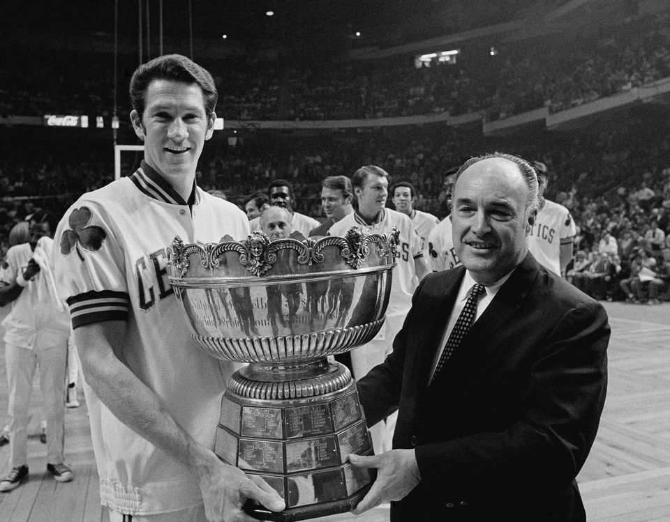 John Havlicek with NBA president Walter Kenney and the Walter Brown Memorial Trophy in 1969.