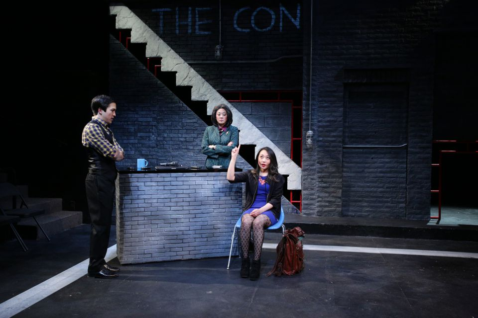 """Tyler Simahk, Lin-Ann Ching Kocar (center), and Theresa Nguyen in """"Fast Company."""""""