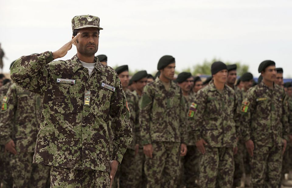 Afghan National Army soldiers wearing new uniforms with a proprietary camouflage pattern that replicates lush forests, first ordered in 2017.
