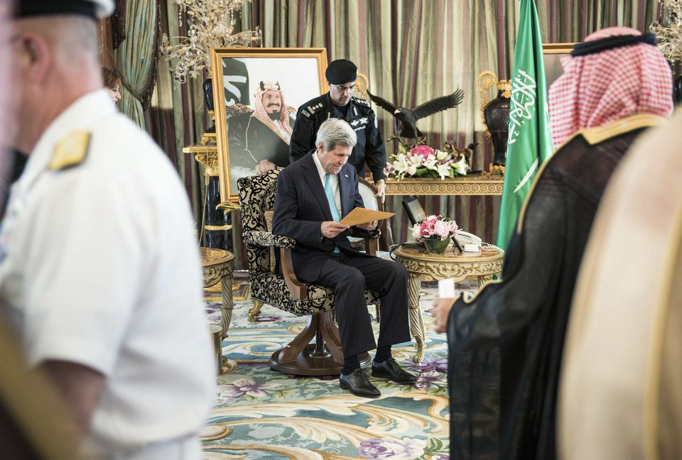 Secretary of State John Kerry waited for a meeting with Saudi King Abdullah at the king's home last month.