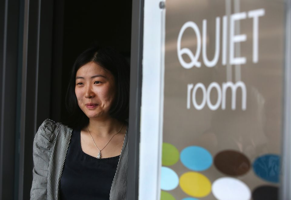 At Tufts Health Plan headquarters in Watertown, employees like Audrey Wang have access to a quiet room.