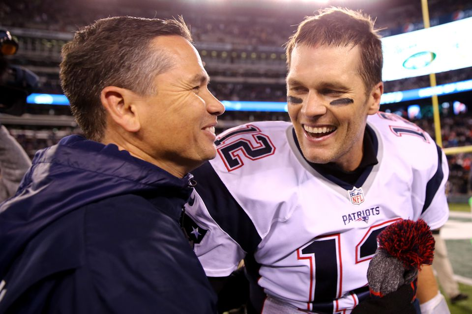 Tom Brady celebrated with Alex Guerrero after defeating the New York Jets at MetLife Stadium in November 2016.
