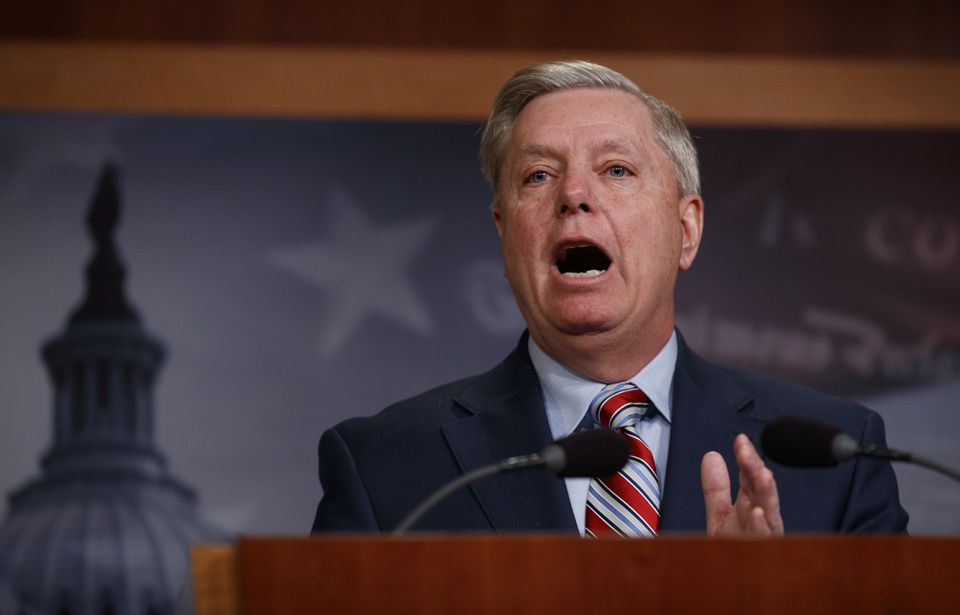 Senator Lindsey Graham, Republican of South Carolina, spoke Monday during a news conference on Capitol Hill.