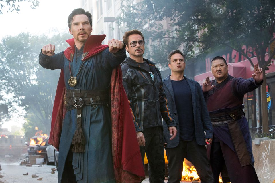 "From left: Benedict Cumberbatch, Robert Downey Jr., Mark Ruffalo, and Benedict Wong in ""Avengers: Infinity War."""