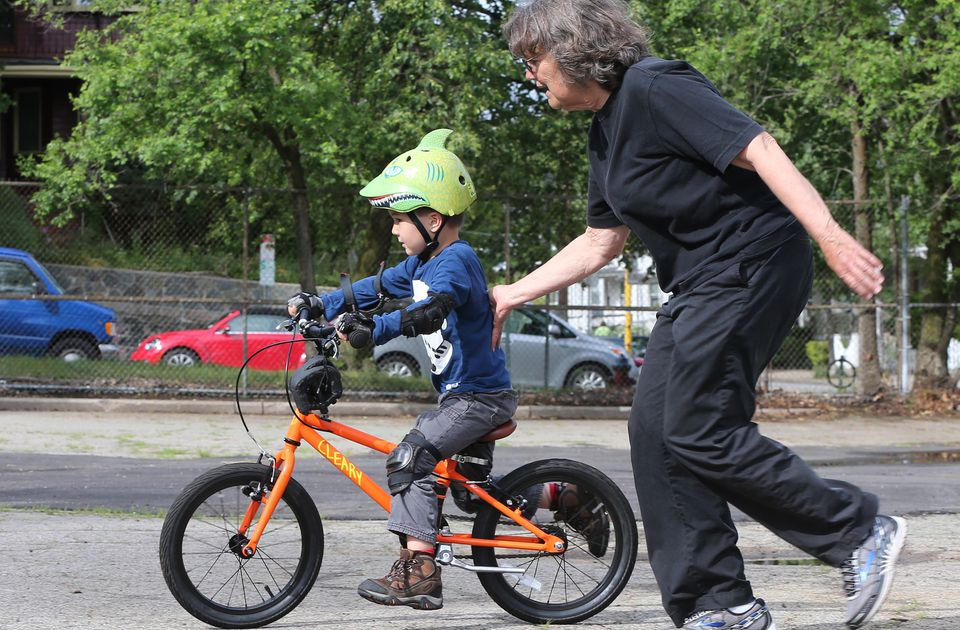 Susan McLucas taught Markus Mauer how to ride a bike in Somerville.