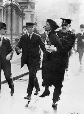 Mrs Emmeline Pankhurst, Leader of the Women's Suffragette movement, was arrested outside Buckingham Palace while trying to present a petition to King George V in May 1914.