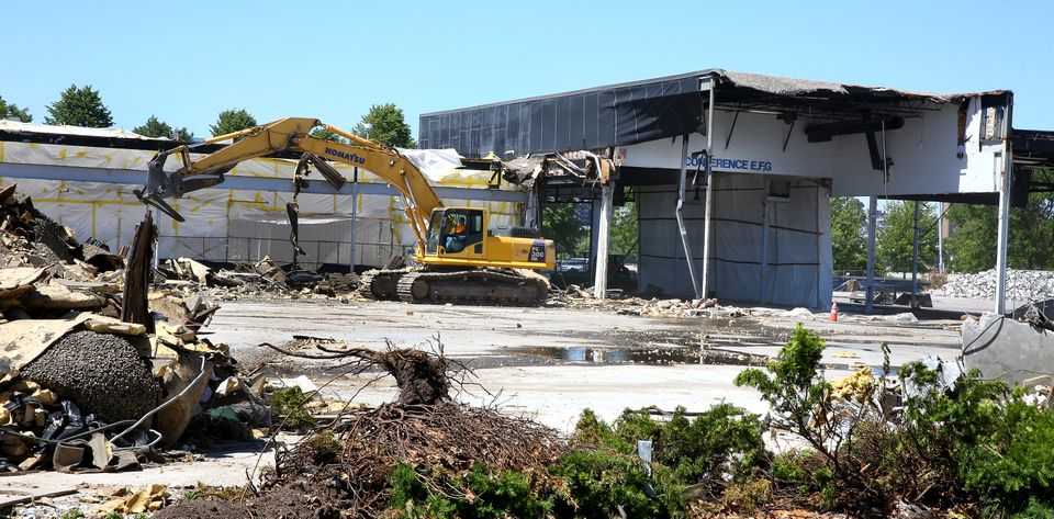 Demolition continued Tuesday at the Bayside Expo Center site.