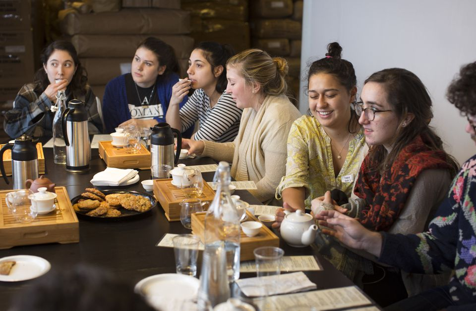 Staff members from Flour Bakery + Cafe sample teas at MEM Tea Imports, learning the characteristics of teas that the bakery serves.