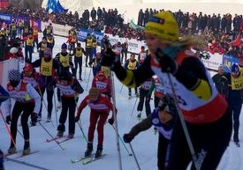 Skiers take off at the start of Vasaloppet China.