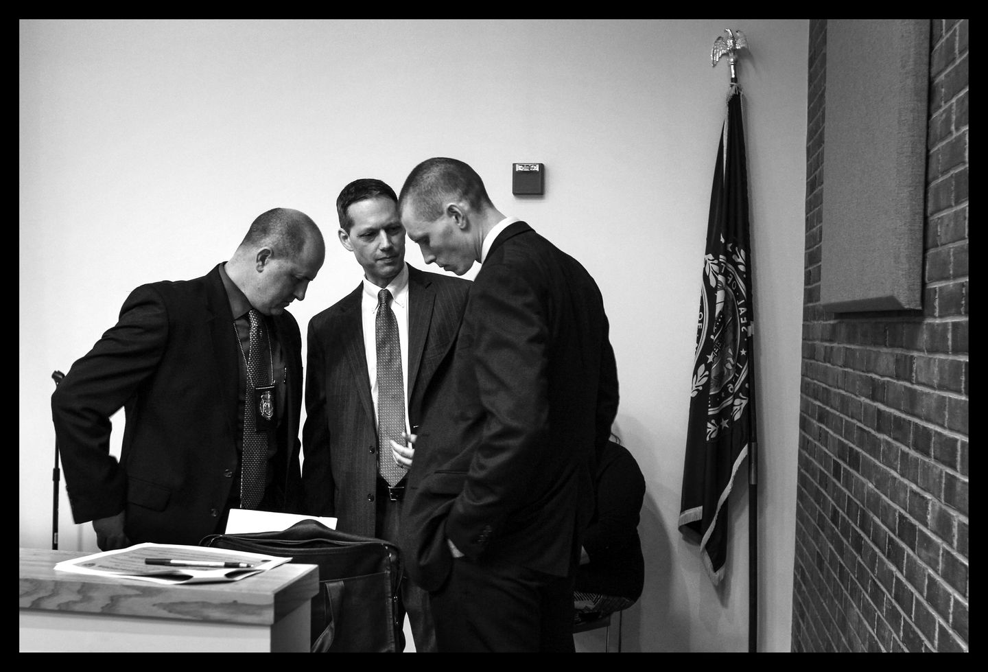 Detective Captain Ryan Grant (from left) of the Manchester, N.H., Police Department; Senior Assistant Attorney General Jeffery Strelzin; and State Police Sergeant  Michael Kokoski, in charge of the Cold Case Unit, talked before a January news conference in Concord, N.H., to discuss recent efforts to locate Denise Beaudin.