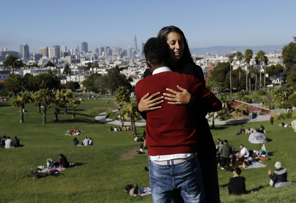 Julie Rajagopal hugged her foster son from Eritrea at Dolores Park in San Francisco. When he landed in March, he was among the last refugee foster children to make it into the U.S.