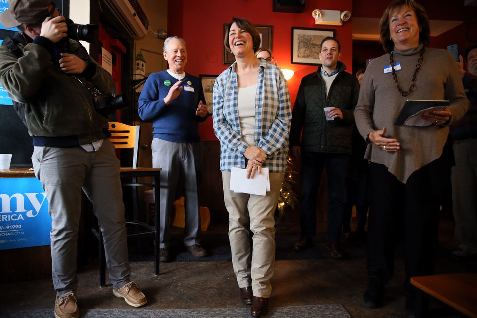Amy Klobuchar, a Democratic senator from Minnesota, listened to introductions at The Village Trestle in Goffstown, N.H. on Monday.