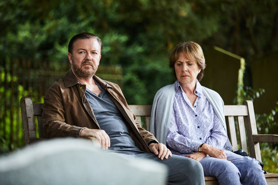 "Ricky Gervais and Penelope Wilton in the Netflix series ""After Life."""