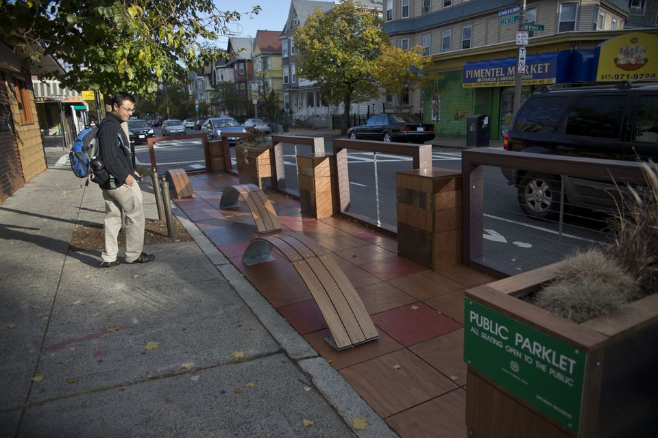 Gioivanny Valencia checked out the Jamaica Plain public parklet at 351 Centre St. in Hyde Square.