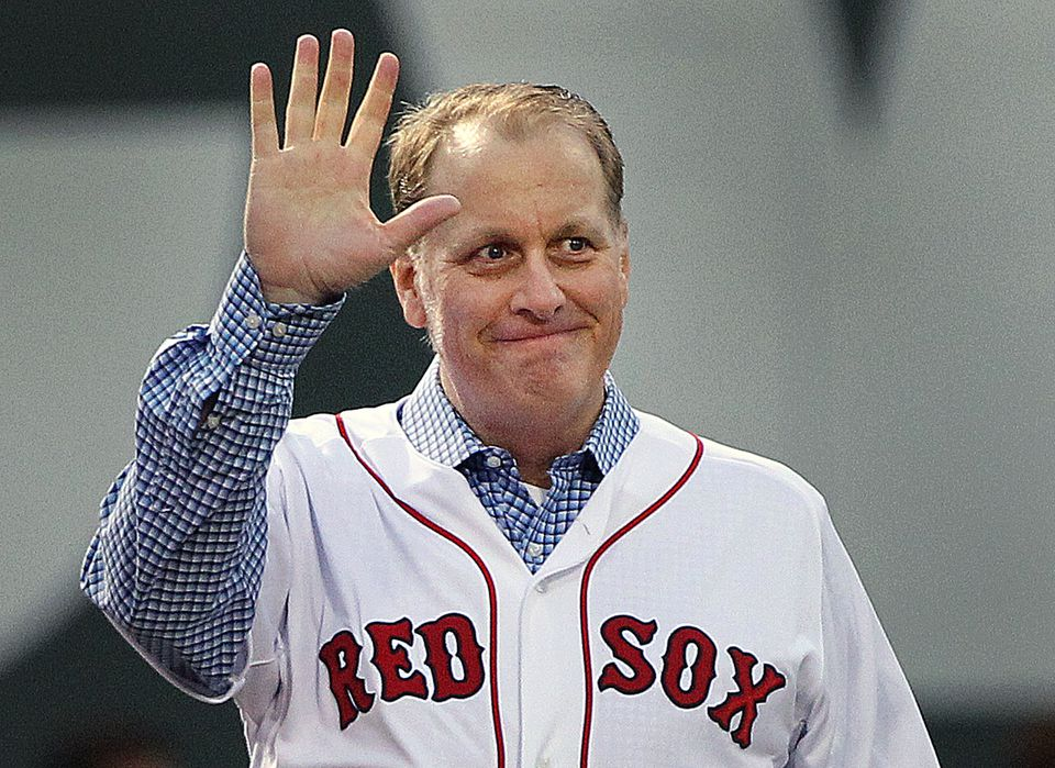 Before a game in 2014, the Red Sox honored the 10th anniversary of the 2004 World Series Championship team. Pitcher Curt Schilling acknowledged the cheers of the crowd as he walked in from left field.