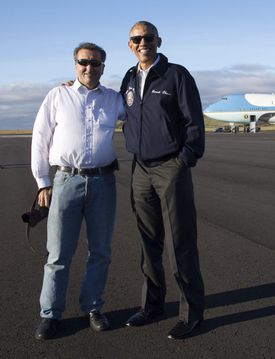 President Obama posed with Souza on the tarmac during a refueling stop at Lajes Air Base in the Azores on Nov. 18, 2016.