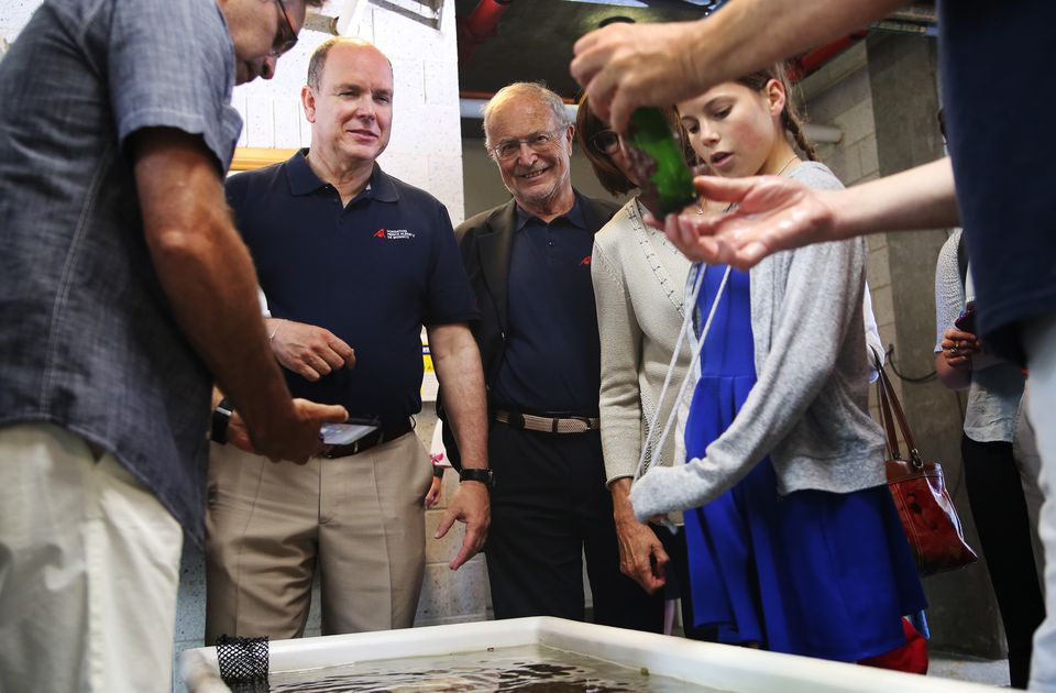 Prince Albert II of Monaco, 2nd from left, visited the Marine Biological Laboratory in Woods Hole. Influenced by his grandfather Prince Albert I, who was an avid oceanographer, the prince made a donation to the laboratory.