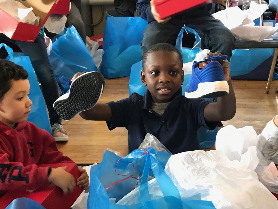 Therry Hermilus, a student at the Edison School, showed off his new sneakers.