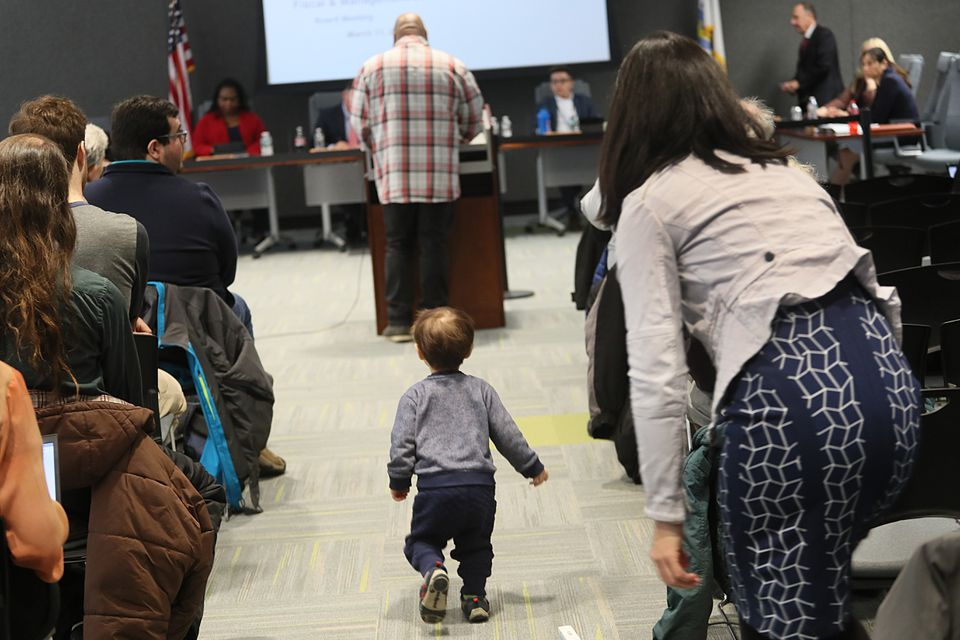 Boston City Councilor Michelle Wu's son made a break for the podium during the MBTA board meeting on Monday.
