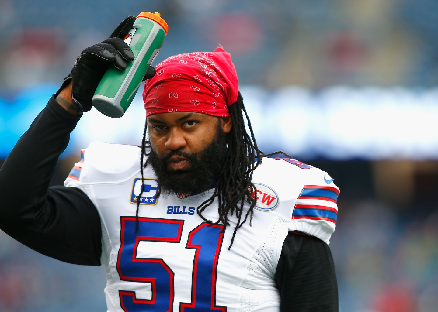 """Brandon Spikes of the Buffalo Bills before a game against the Patriots in December of 2014. In a phone call with Aaron Hernandez in October of 2014, Spikes suggested that he planned to take """"a little Toradol"""" before his next game."""