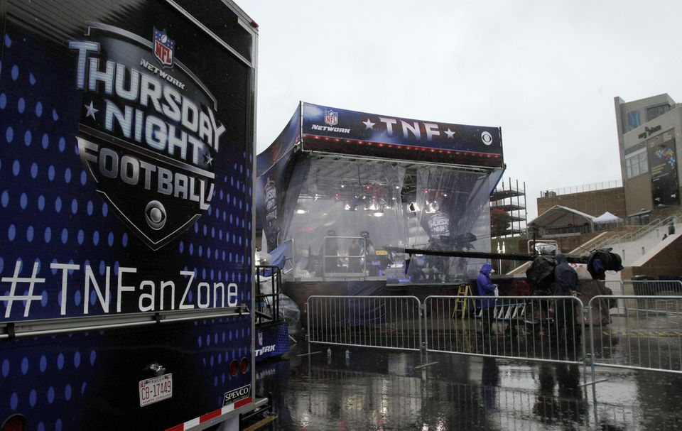 The NFL Network studio set was outside Gillette Stadium Thursday. The game was carried by both NFL Network and CBS.