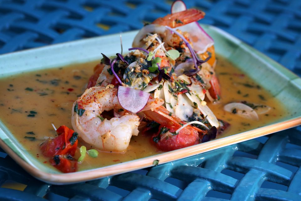 Prawns a la plancha at Casa Caña, inside Studio Allston, which used to be the Days Hotel on Soldiers Field Road.