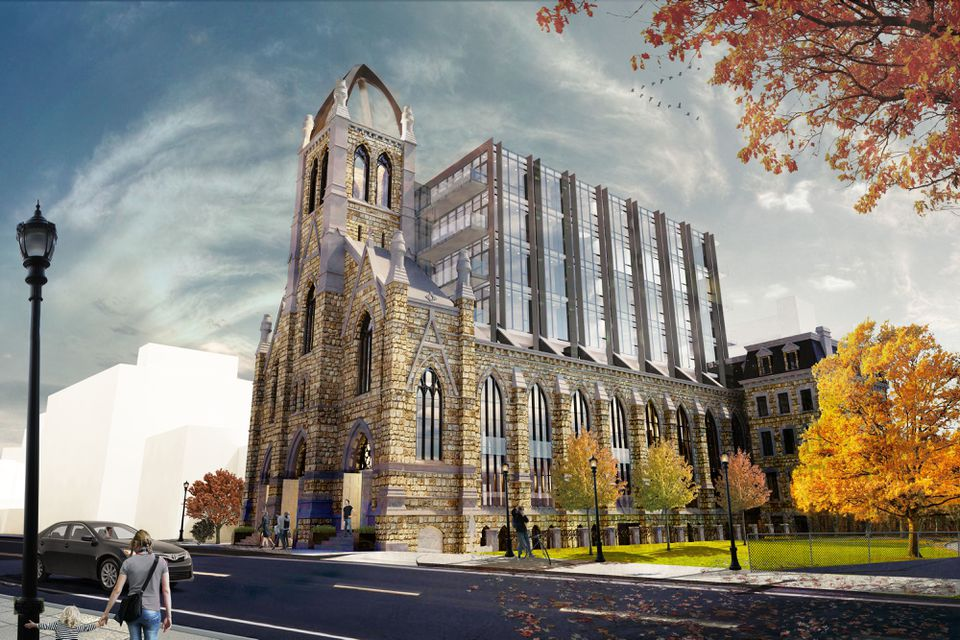 A rendering of the proposed development at 136 Shawmut Ave. in the South End, on the site of the former Holy Trinity German Catholic church.