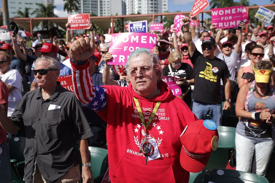 Supporters of Donald Trump cheer during a campaign rally at Bayfront Park Amphitheater in Miami on Nov. 2.