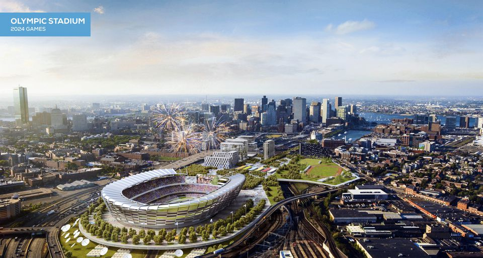 A rendering of an Olympic stadium was released by the Boston 2024 planning committee in June.