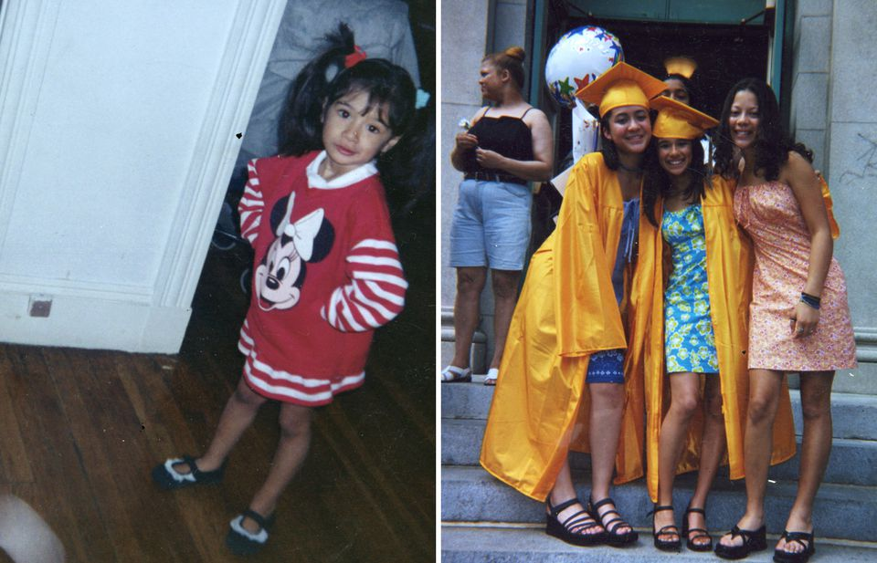 Guerrero (left) as a young child, and with friends (center, right) at her eighth grade graduation.