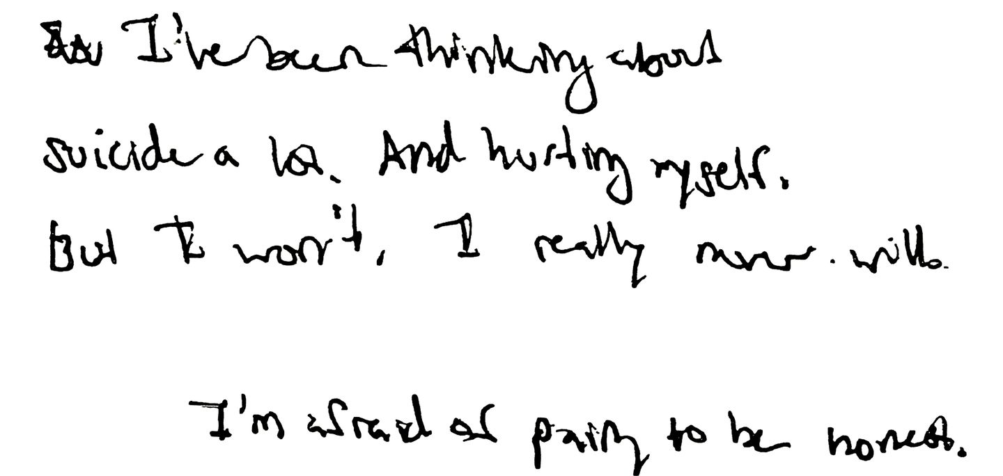 A page from Alexandra's journal, modified for legibility.