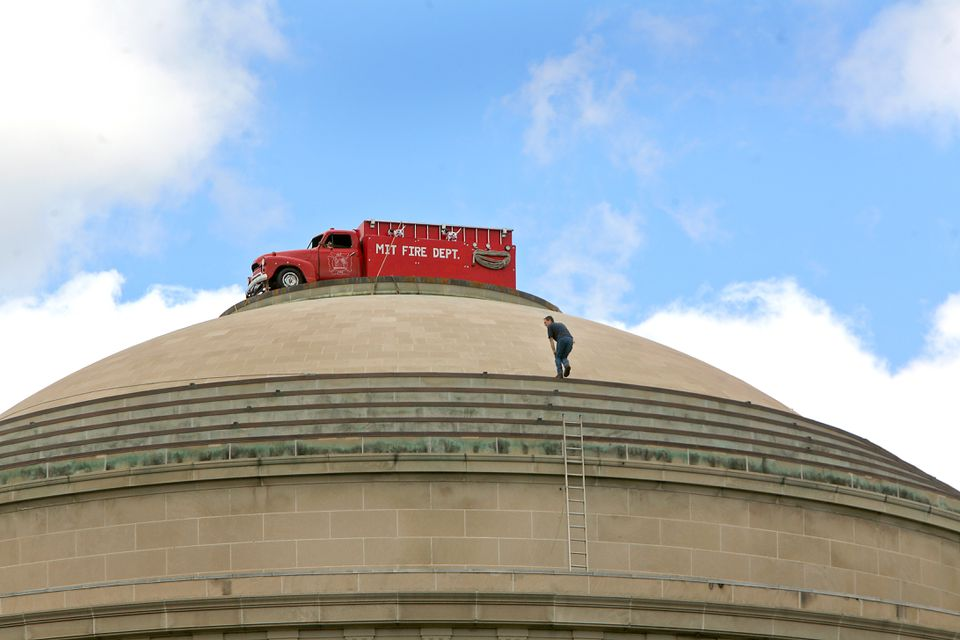 The top of the MIT dome was decorated by what appeared to be a red MIT fire truck in September 2006.