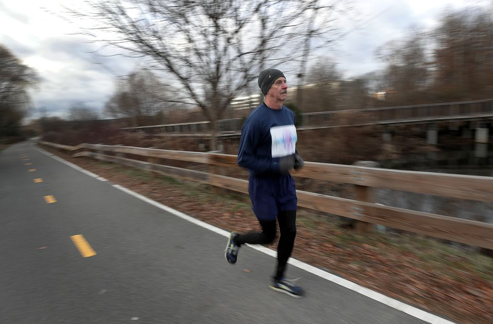 Mike Cramer made a practice run in preparation for competing in the Winter Classic 5K in Cambridge.