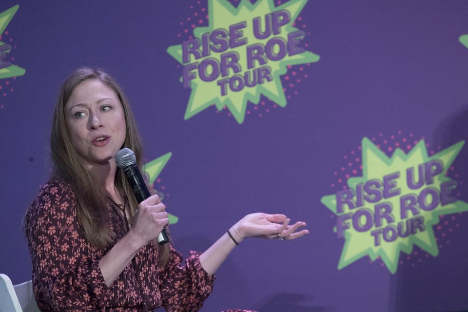 Chelsea Clinton speaks during the Rise Up For Roe national tour in New York on Aug. 11.