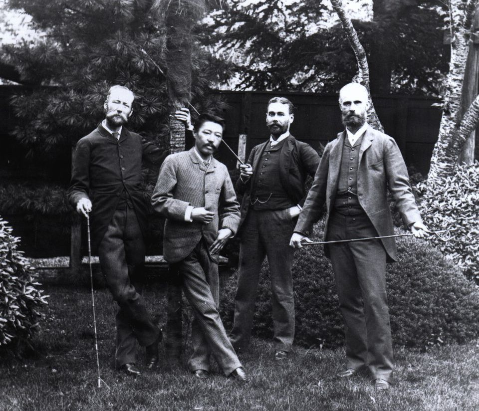Bigelow's associates in Japan included (from left) zoologist Edward S. Morse, and Okakura Kakuzo and Ernest F. Fenollosa, who each went on to become curators at the MFA. Bigelow stands at far right.