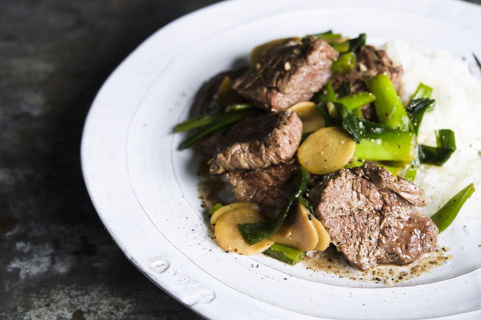Stir-fried beef and ginger.