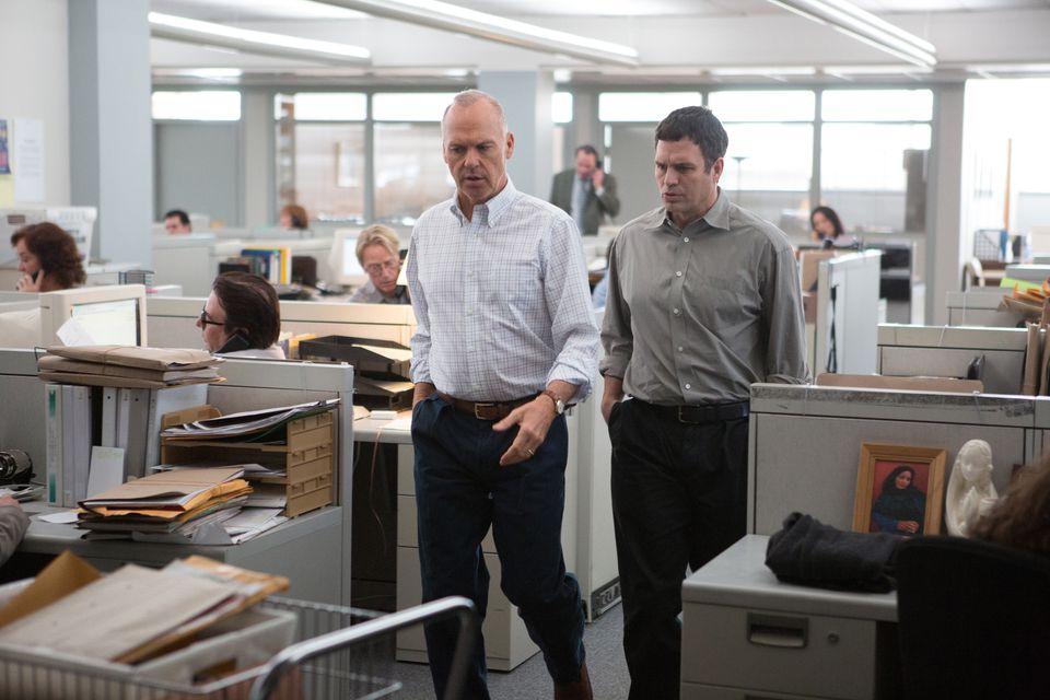 "Michael Keaton as Walter ""Robby"" Robinson and Mark Ruffalo as Michael Rezendes in ""Spotlight."""