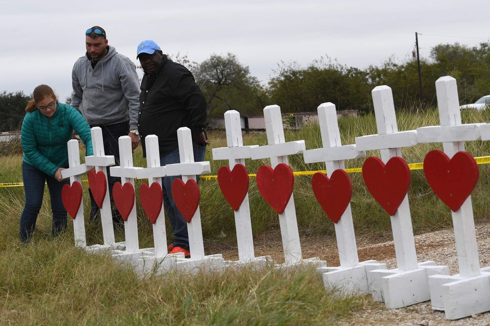 Crosses were set up outside the massacre site in Sutherland Springs, Texas.