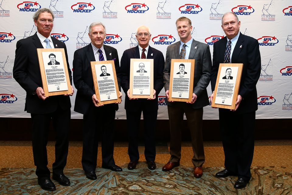 The 2017 US Hockey Hall of Fame class (from left): Kevin Collins, Ron Wilson, Jack Parker, Scott Young, and Ben Smith