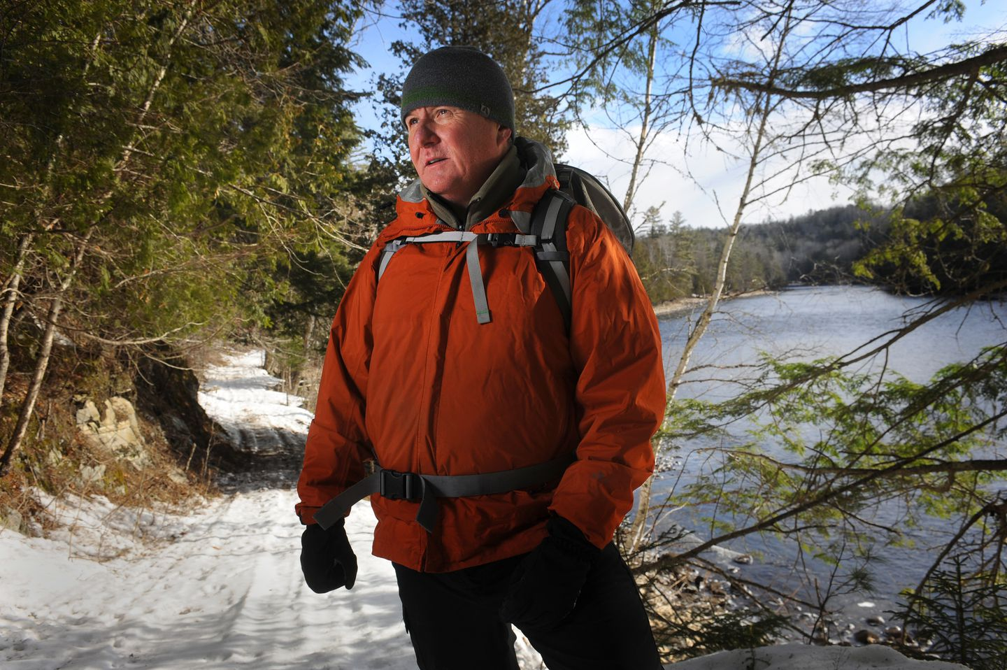 Walters showed visitors the area where a plan brings new high-voltage transmission lines across the pristine Kennebec Gorge.