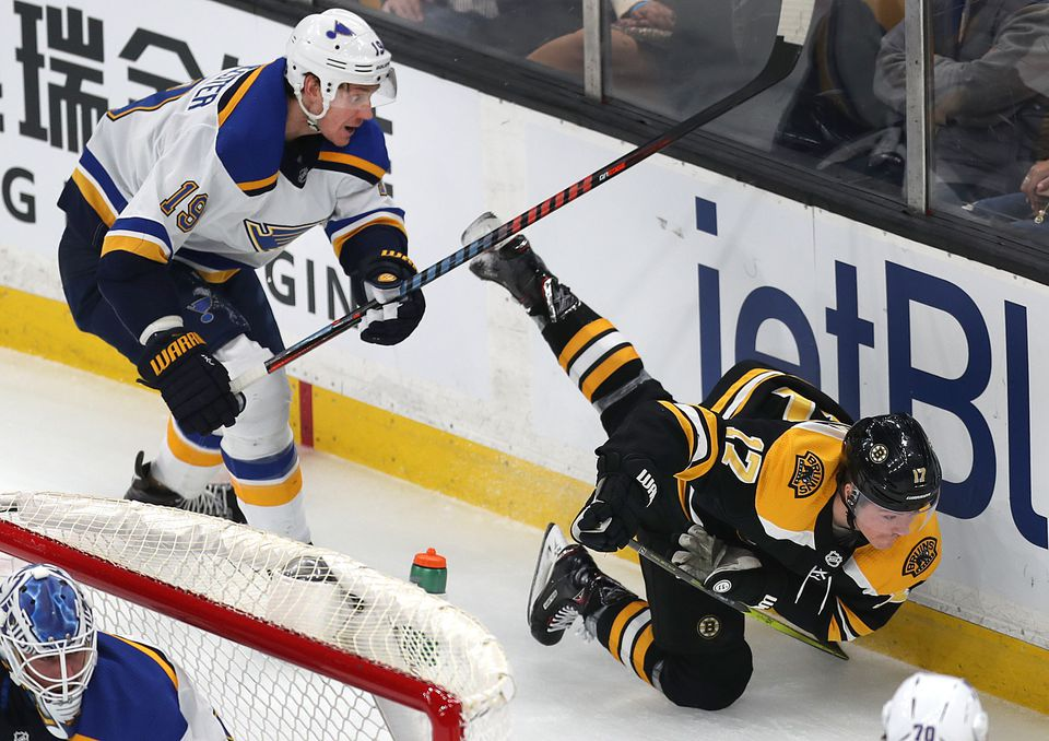 The Bruins' Ryan Donato was tripped up by the Blues' Jay Bouwmeester in the first period.