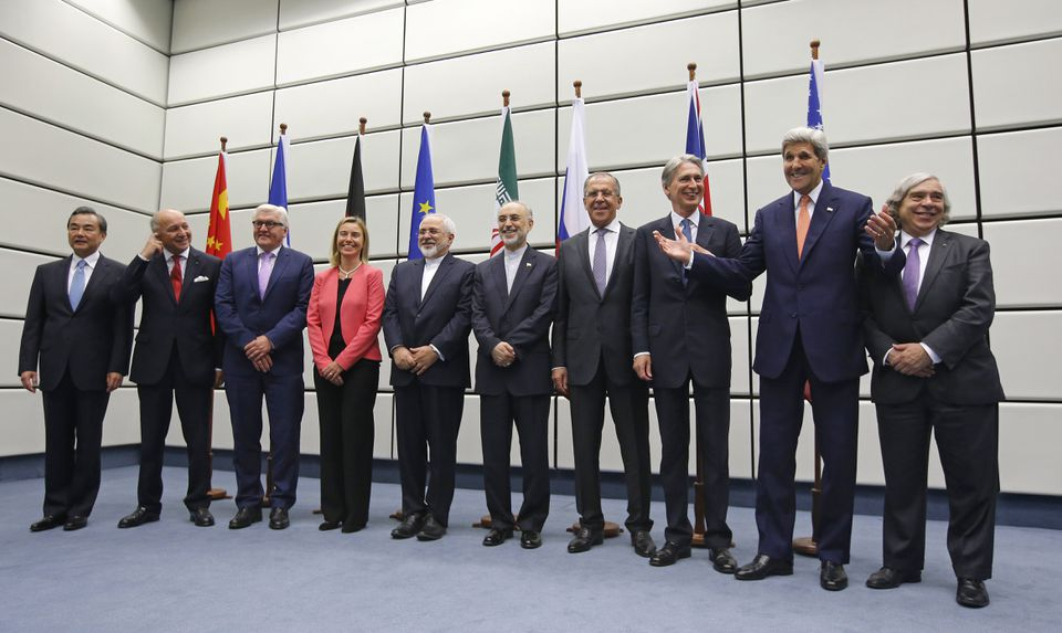 Negotiators posed for a group photo at the United Nations building in Vienna, Austria, on Tuesday.
