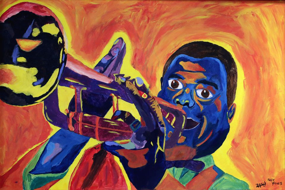 A portrait of a blue and orange Louis Armstrong blasting his trumpet greets students as they enter the lobby of the John D. O'Bryant School of Mathematics and Science.
