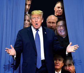 Midterm madness, White House musical chairs, fun with foreign policy, airline outrage, and the fallout from the Patriots' Super Bowl loss. (Trump and Putin from AFP/Getty Images; Daniels, Mueller, Kavanaugh, and Cohen from Getty Images; Kim from KNS; Belichick by Jim Davis/Globe Staff; Globe staff photo illustration)