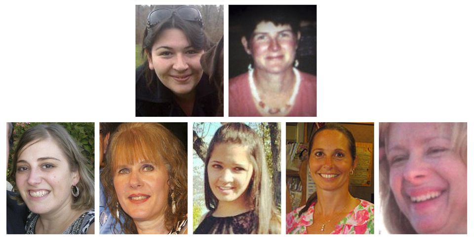 The seven adults who died in Newtown, Conn. Friday. First row, left to right: Rachel Davino, Anne Marie Murphy.  Second row: Lauren Rousseau, Mary Sherlach, Victoria Soto, Dawn Hochsprung, Nancy Lanza.